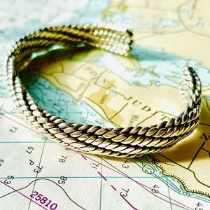 Sterling silver Rope bracelet bangle thick